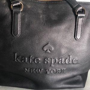 Black embossed Kate Spade logo tote